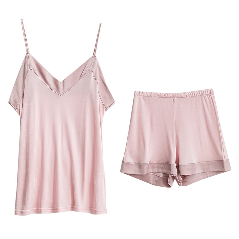 2021 female female 100% mulberry silk home wear home wear pajamas vest suit pajamas sleep wear shorts