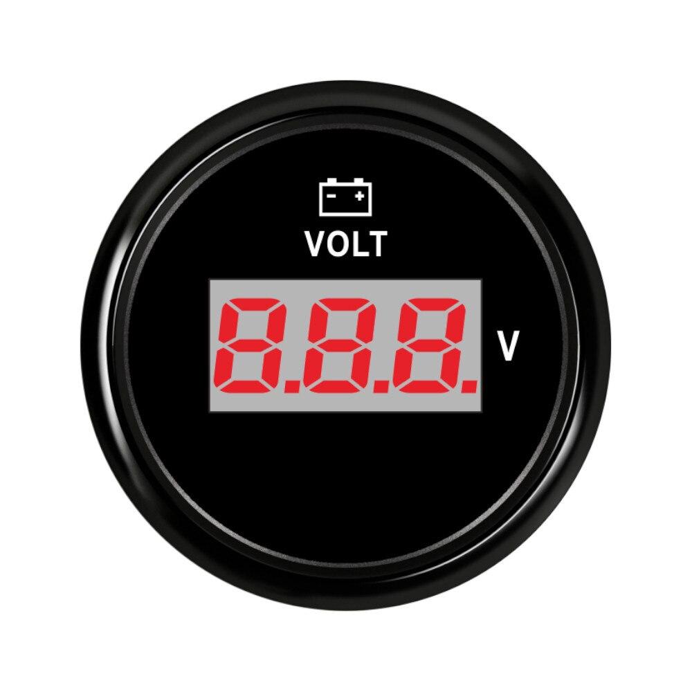Voltímetro de coche de 52 mm 12 V 24V Ajuste del coche barco camión motocicleta voltaje marino voltímetro con retroiluminación Digital voltímetro