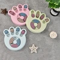 pet paw shape slow food dispenser disc anti choking plastic feeder leaking food bowl pet cat dog interactive puzzle toy