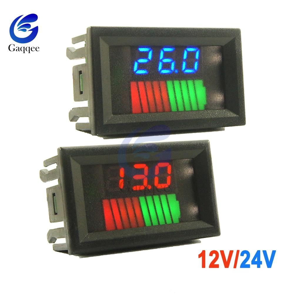 10 segmentos 12V 24V coche plomo ácido batería indicador de nivel de carga probador de capacidad de batería de litio medidor de doble LED voltímetro Kits