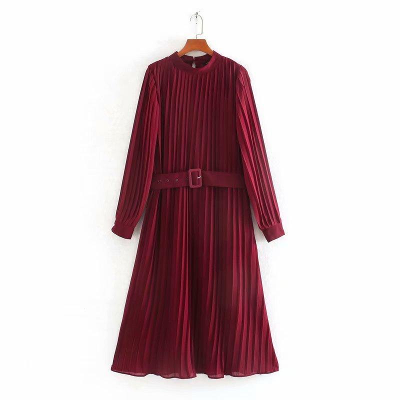 Nuevos vestidos elegantes para mujer, de color liso, plisados, vestido midi para mujer, de manga larga, con hebilla, vestidos casuales delgados y elegantes DS3406