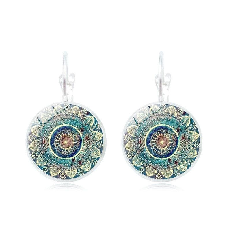 Vintage Mandala Glass Dome Earrings Buddhism Chakra Glass Cabochon Earrings Jewelry India Yoga Mandala Gem Earring Stuck Women