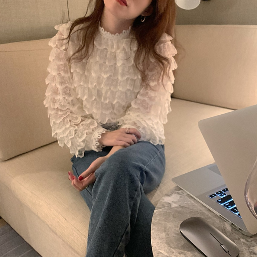 H997471a027db4c478a3affbe23885c05X - Spring / Autumn O-Neck Long Sleeves Hook Flowers Hollow Out Ruffles Blouse
