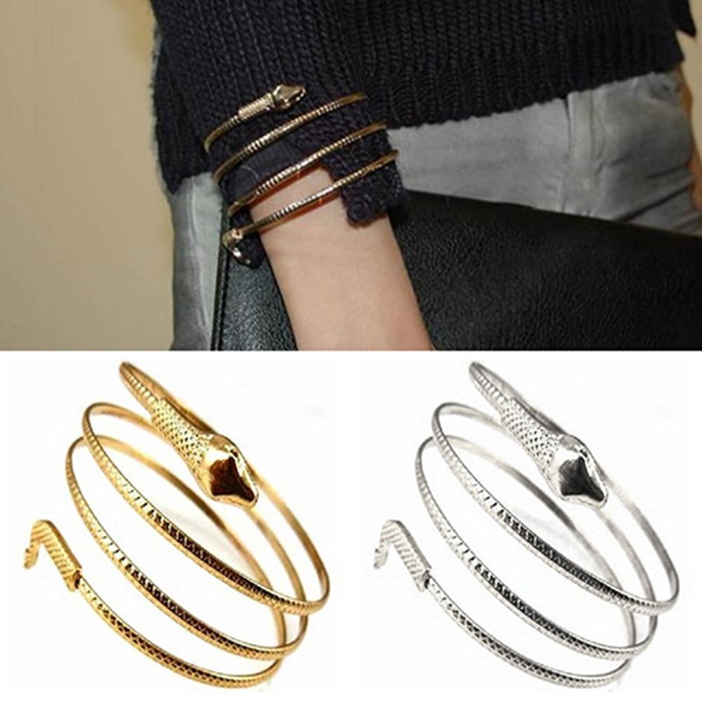 Moda punk enrolado cobra multi-camada espiral braço superior manguito ouro aberto armlet armband pulseira pulseira masculino pulseiras