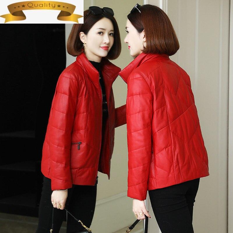 الكورية سترة جلدية المرأة معطف جلد الغنم الحقيقي الدافئة الأبيض بطة أسفل معاطف الإناث سترة الكورية السيدات الملابس Cuero Genuino
