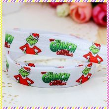 DHK 5/8 5yards Fold Over Elastic FOE christmas printed headband hair band diy decoration OEM Wholesale E201