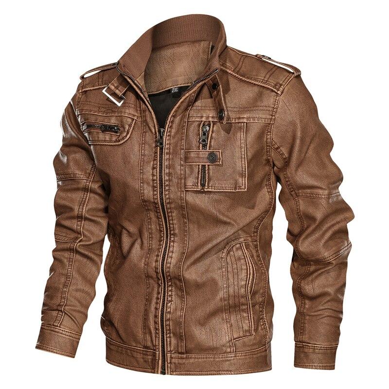Winter New Casual Motorcycle PU Jacket Mens Leather Jackets 2020 Biker Leather Coats European Windbreaker Genuine Leather Jacket
