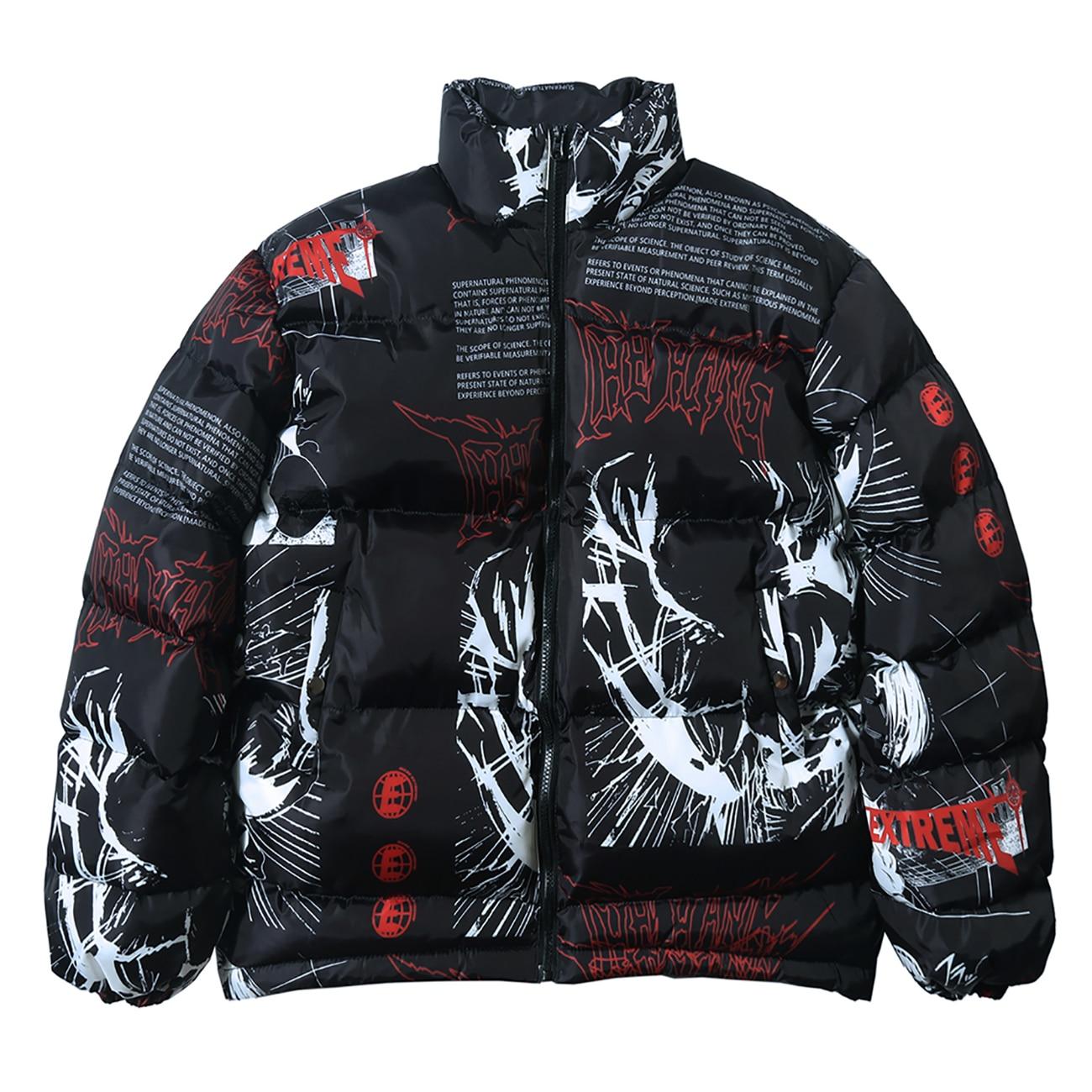 Down Jacket Japanese Cartoon Graffiti Print Men Thick Parka Winter Warm Padded Jacket Coats 2020 Harajuku Windbreaker Streetwear