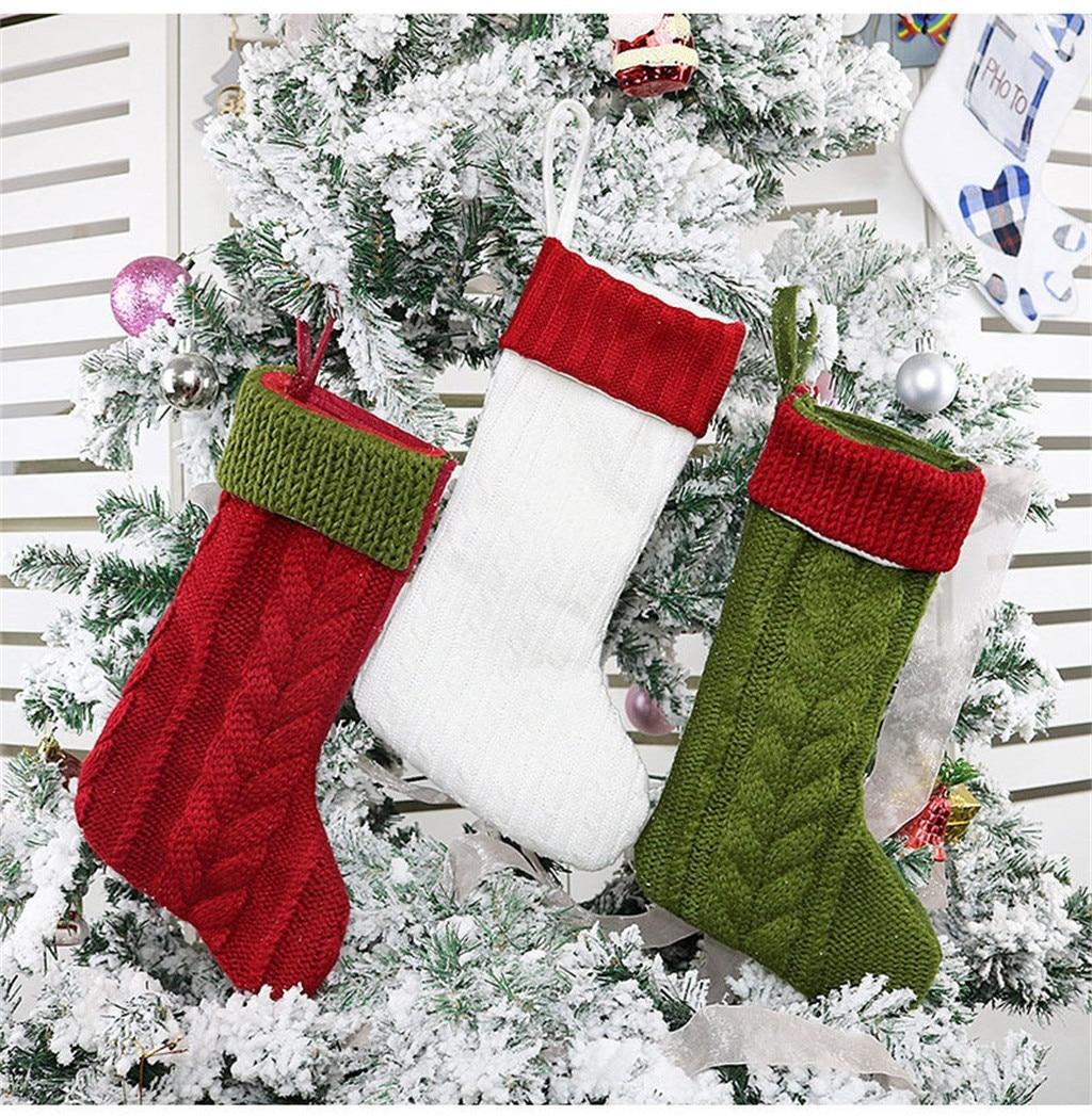 Meias de natal 12 polegadas Malha Meias para a Temporada de Natal Decoração Enfeites de Árvore de Natal Sacos Do Presente Do Partido Dos Miúdos # SS