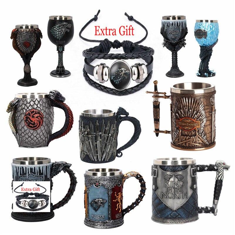 Игра престолов Железный Трон Танкард из нержавеющей стали чашки смолы семь царств 3D средневековая пивная кружка меч посуда для напитков чашка