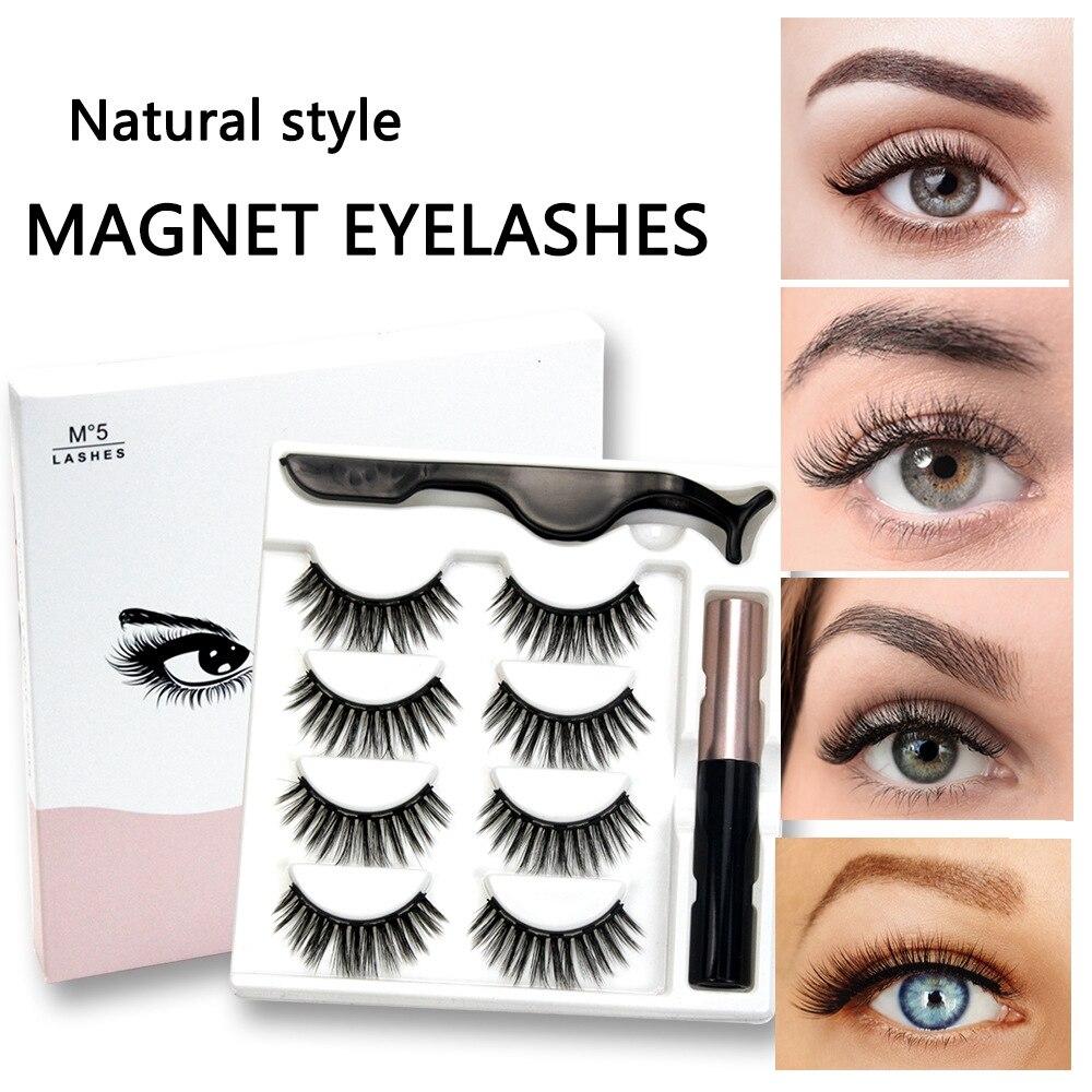 4 pares de magnetico cilios posticos eyeliner conjunto natural grosso mix ima falso