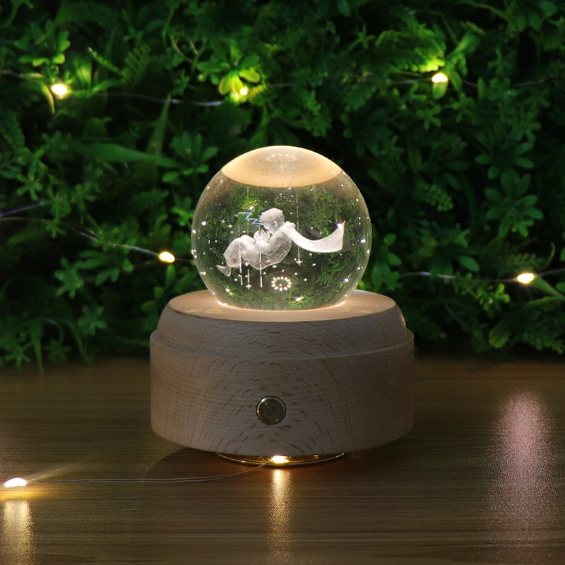 Moon Crystal Ball Night Light Wooden Music Box Music Box Rotary Innovative Birthday Gift Touch dimming little Prince