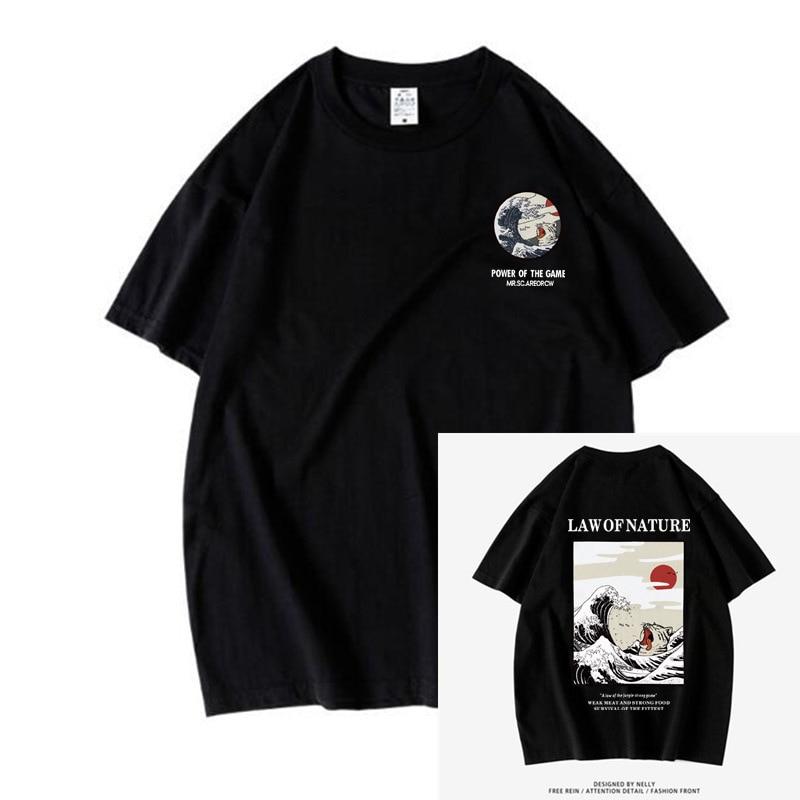 2020 nova rua japonesa engraçado gato onda camiseta mistura masculina e feminina casual manga curta camisetas e camisetas