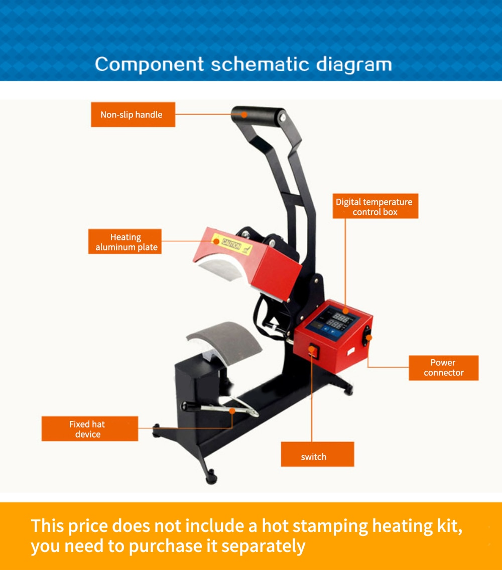 New Roasting Cap Machine ST-CM11 Hot Hat Machine Printing Hat Heat Transfer Heat Press Machine 110V/220V 0-999 s Working time enlarge