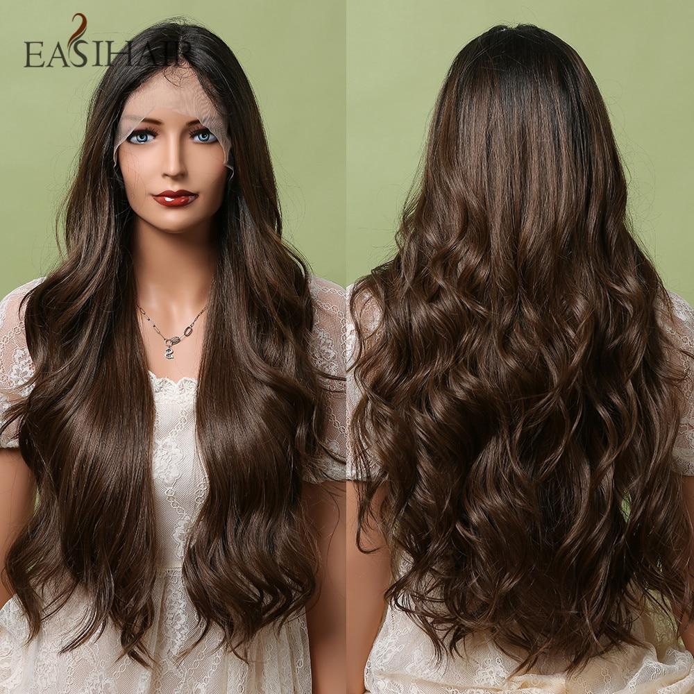 EASIHAIR طويل بني داكن الدانتيل الجبهة الاصطناعية شعر طبيعي الباروكات شعر مستعار ذا مقدمة من الدانتيل للنساء تأثيري الباروكات عالية الكثافة