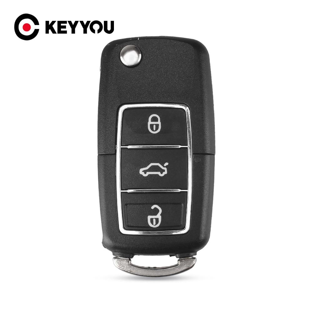 Llavero con mando a distancia KEYYOU para Volkswagen Jetta Golf Passat b5 b6 Beetle Polo Bora, 3 botones, funda con llave plegable