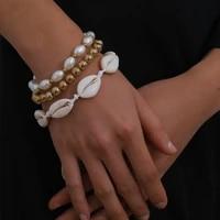 hand geometry round bead metal bracelet female temperament imitation pearl beach shell bracelet ornaments for home
