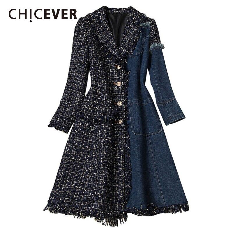 CHICEVER Vintage Patchwork Plaid Tassel Denim Windbreaker For Women V Neck Long Sleeve Casual Coats Female 2021 Fashion Clothing