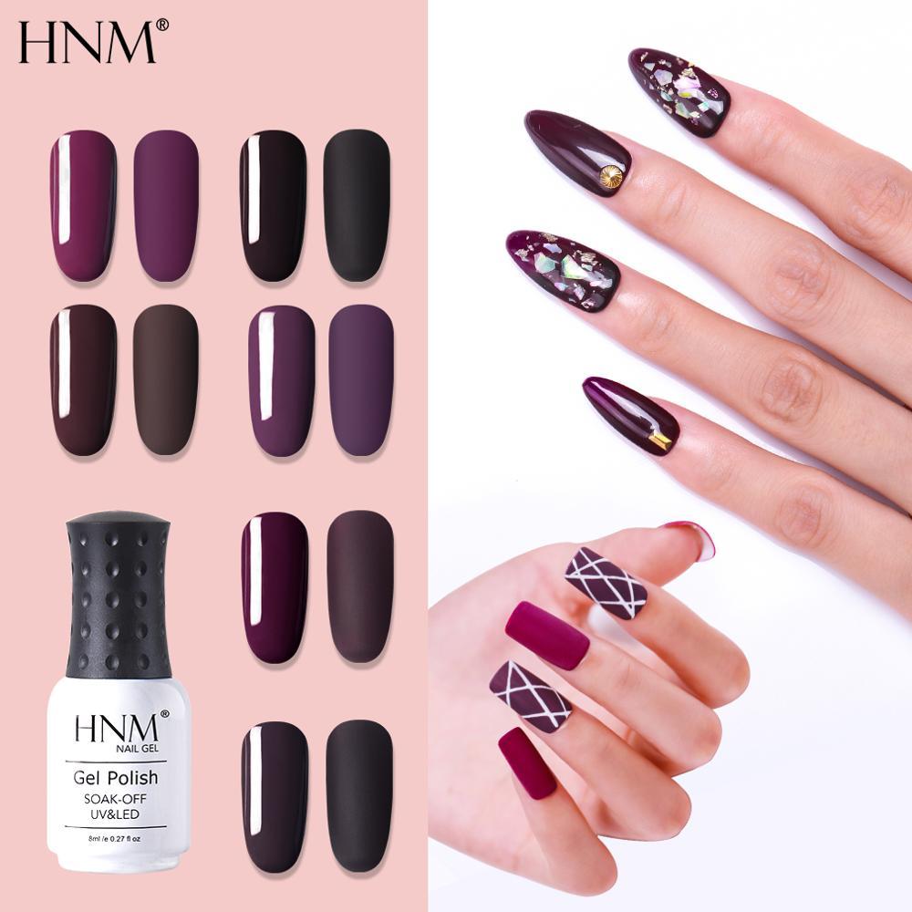 HNM 8ml Jam Series UV Gel Nail Polish Matt Shiny Top Coat Light Purple Cold Beige Soak Off Varnish LED Semi Permanent Lacquer