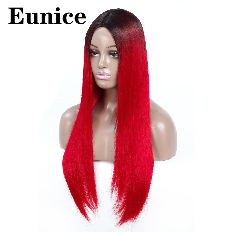Peluca sintética Ombre pelucas largas rectas negras para mujeres Peluca de pelo rojo negro Natural parte media Arco Iris Cosplay pelucas Eunice pelo