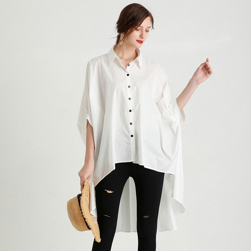 Women  Shirts & Blouses Tops Batwing Sleeve  Plus Size Summer 2021  Office Lady Fashion Casual Irregular   Top Clothes 4xl