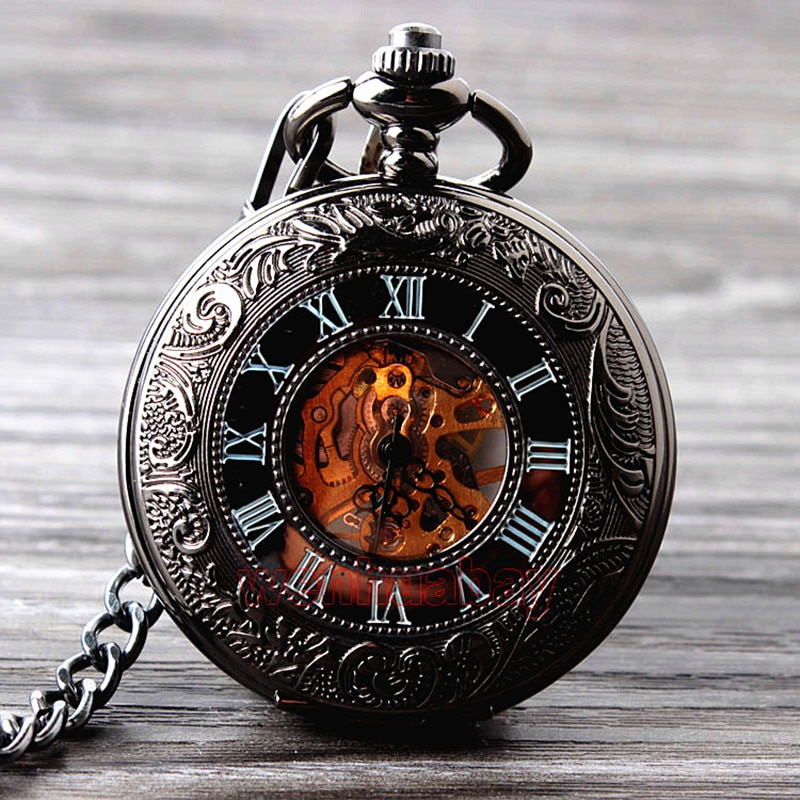 Retro Hand Wind Mechanical Pocket Watch With  Chain Mens Hollow Skeleton Dial Black Steel Fashion Quartz Pocket Watch Gifts
