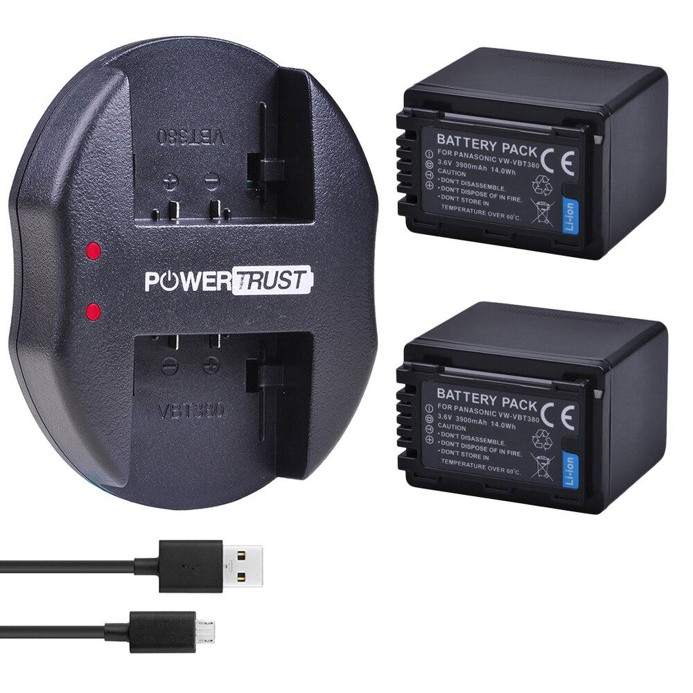 2 шт. 3900 мАч VW-VBT380 VBT380 литий-ионная батарея + USB двойное зарядное устройство для Panasonic HC-VXF999, HC-VXF990, HC-VX870, HC-VX989, HC-W570