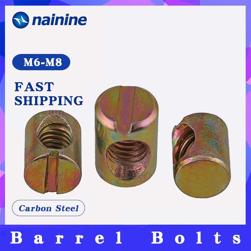 Barrel Nut [M6 M8] Tasselli Scanalato Mobili Dado per Letti Culla Sedie Bulloni B151