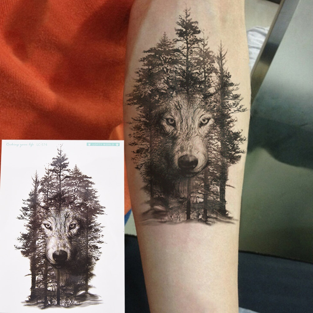 Tatuajes falsos tatuaje Flash para mujeres hombres 1 pieza tatuajes temporales bosque Lobo tatuaje impermeable
