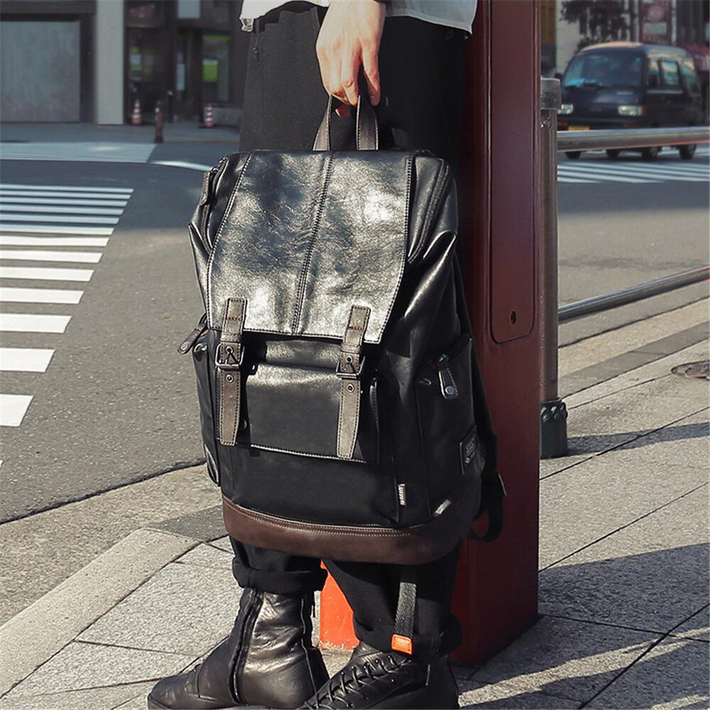 MTONG Men And Women's Leather Backpack 14 Inch Business Laptop Light Daily Schoolbag Black Boys' School Men's Fashion