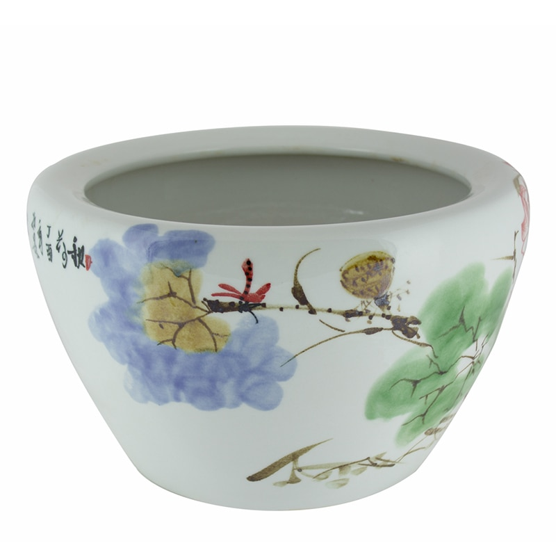 Porcelain Fishbowl Chinese Ceramic Fish Bowl Planter Flower Hand-painted Lotus