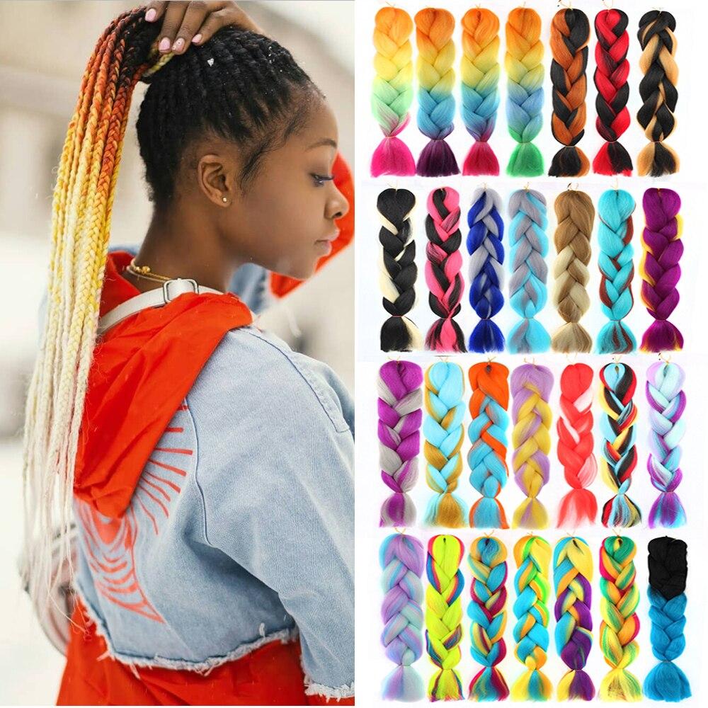 "LiangMo Hair 1pc 24"" 100G/PC Ombre Jumbo Braids Crochet Hair Synthetic Braiding Hair Extension Yaki Bulk Red Green Rasta Color"