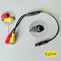 car reverse backup rear view camera 4 pin male connector to rca wire power harness adapter wire female cvbs signal