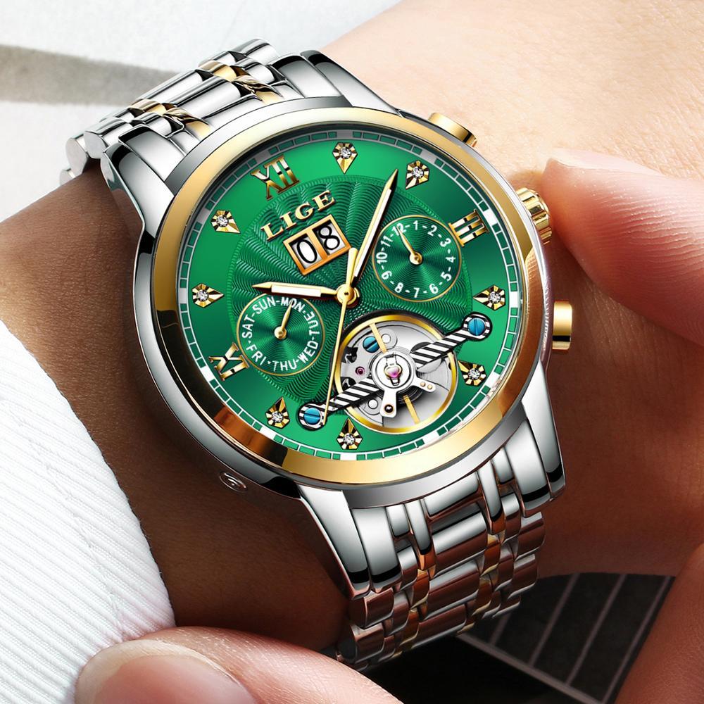 Reloj de hombre LIGE genuino, Tourbillon mecánico automático, relojes deportivos de acero inoxidable de lujo a la moda para hombre, reloj Masculino