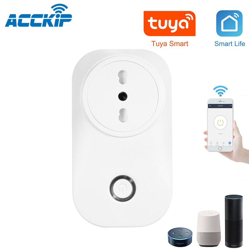 ACCKIP Chile Smart Plug Italy Wifi Socket Plug IT CL 16A Power Monitor Voice Control Works With Alexa Google Tuya Smart Life