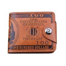 Portefeuille en cuir à motif de billets de banque USD portefeuille en cuir à deux volets carte de crédit photo sandwich design bord dhuile bouton portefeuille 2020