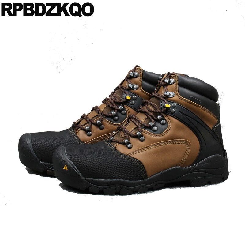 Botines de cuero de grano completo hechos a mano senderismo duradero Zapatos de diseño impermeable hombres de alta calidad con cordones botas de talla grande punta de acero