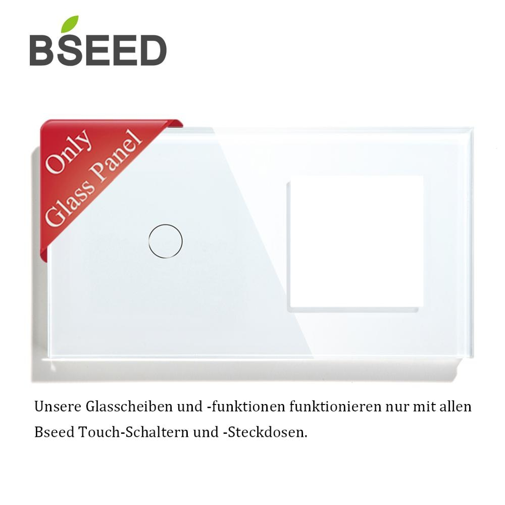 BSEED 157 mm 1 interruptor con toma de pared, Panel de vidrio, solo blanco negro Gloden EU estándar, cristal de perla
