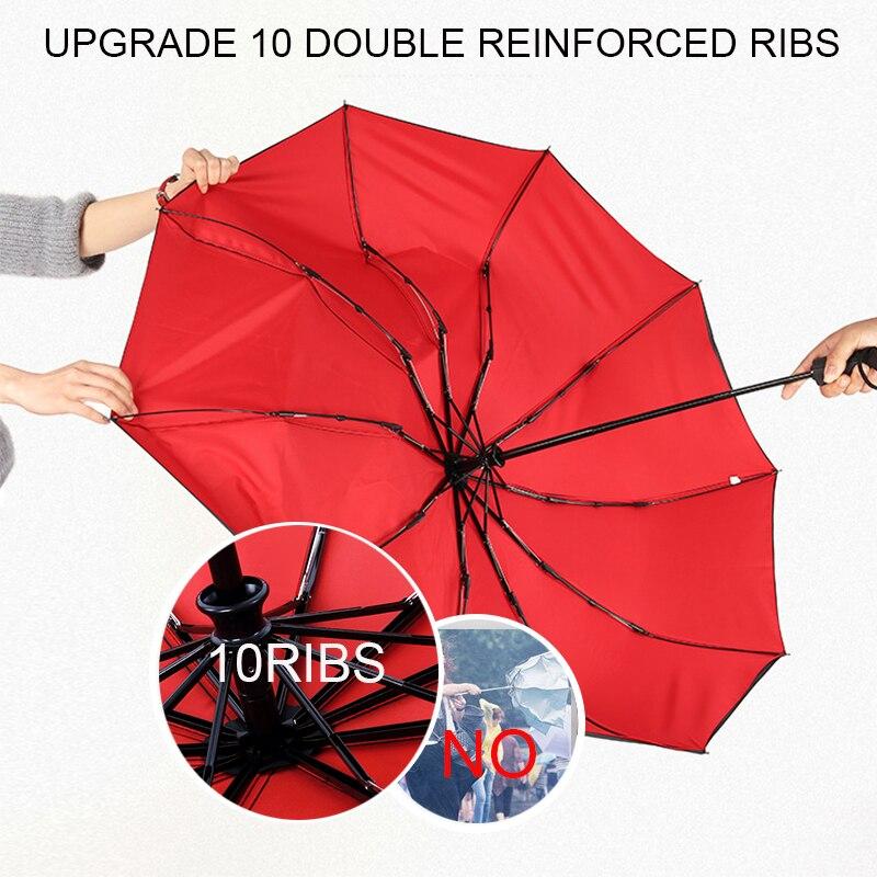 Double Layer Windproof Women's Automatic Umbrella Female Male Ten Bone Three Folding  Men's Umbrella Large Rain Business Parasol enlarge
