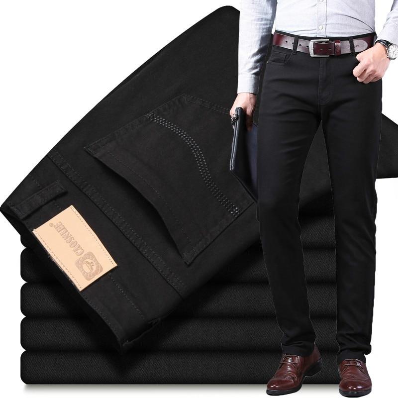 Джинсы мужские стрейчевые, повседневные брюки из денима, деловой стиль, черные, цвета хаки, весна-лето