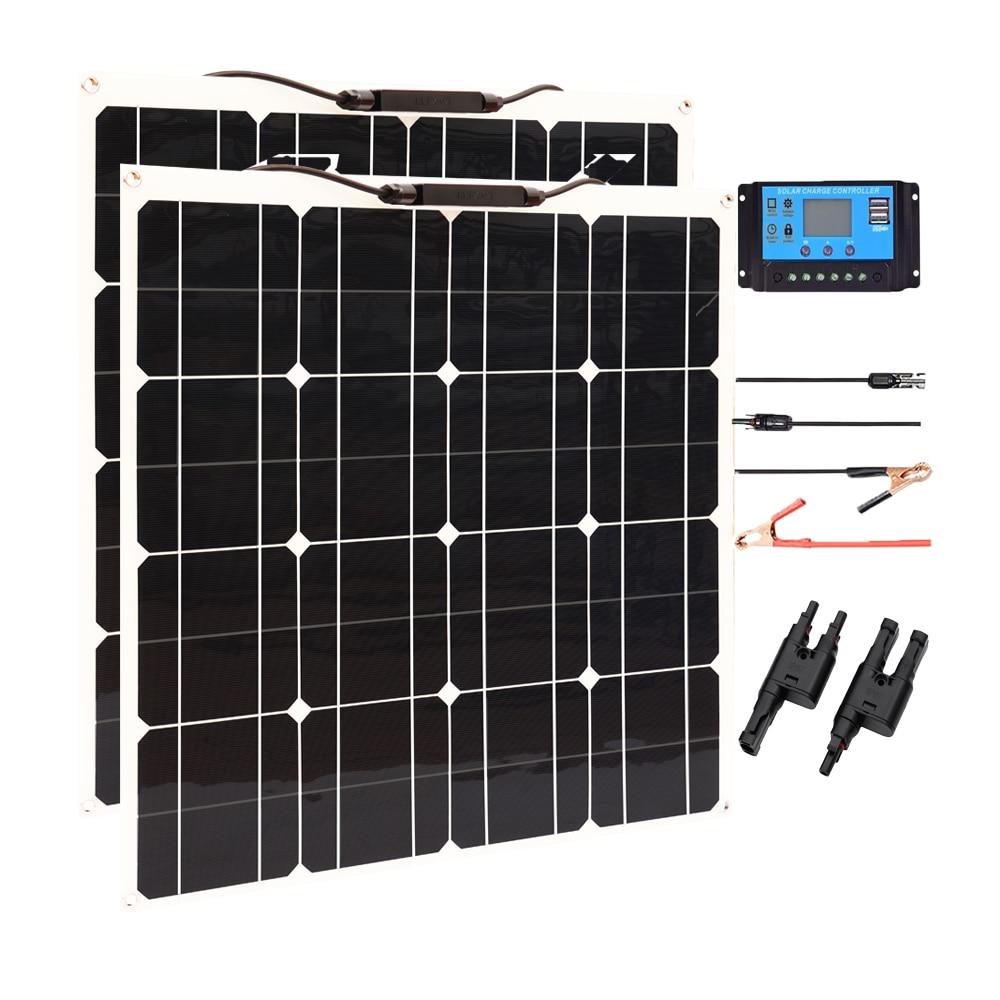 100w panel solar flexible 50w 12v mono de alta eficiencia placa Sistema solar para casa camping RV