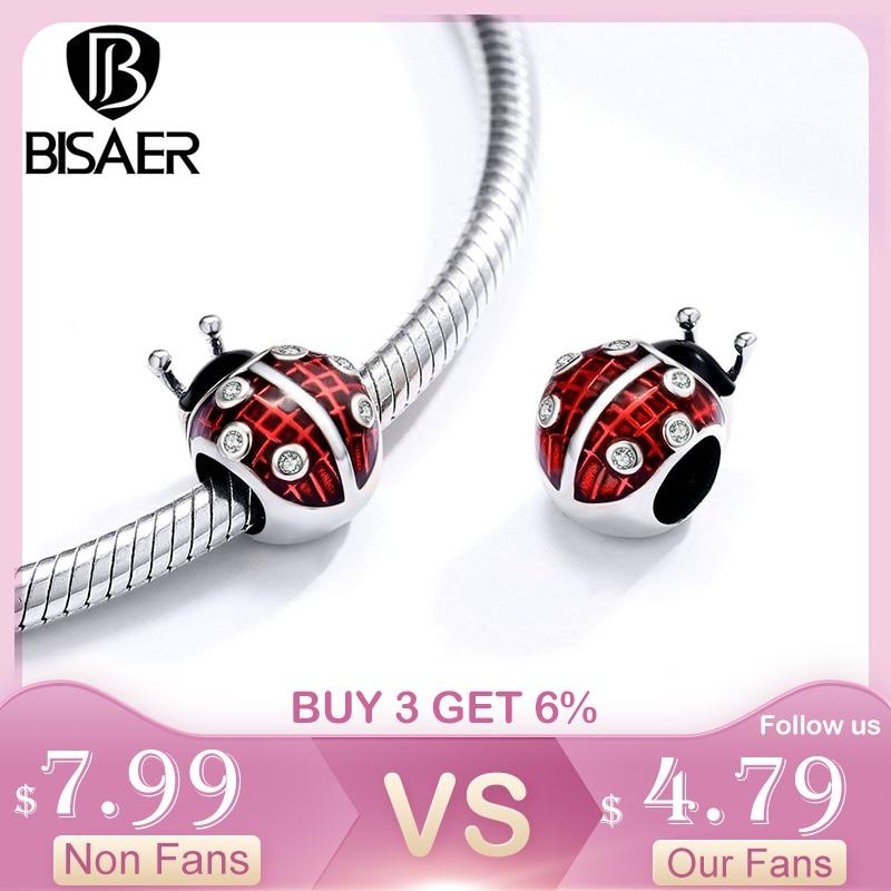 BISAER 925 Sterling Silver Red Ladybug Charms Insect Beads Enamel Animal Pendant Fit Original Bracelet DIY Necklace C1481