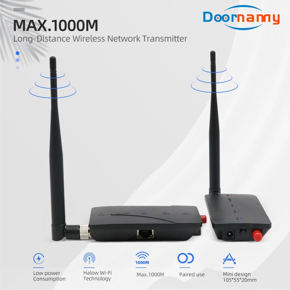 Doornanny 1000M Cabel Extender Wireless Repeater Camera WiFi Digital Signal Amplifier 2.4Ghz 802.11ah Transmitter & Receiver