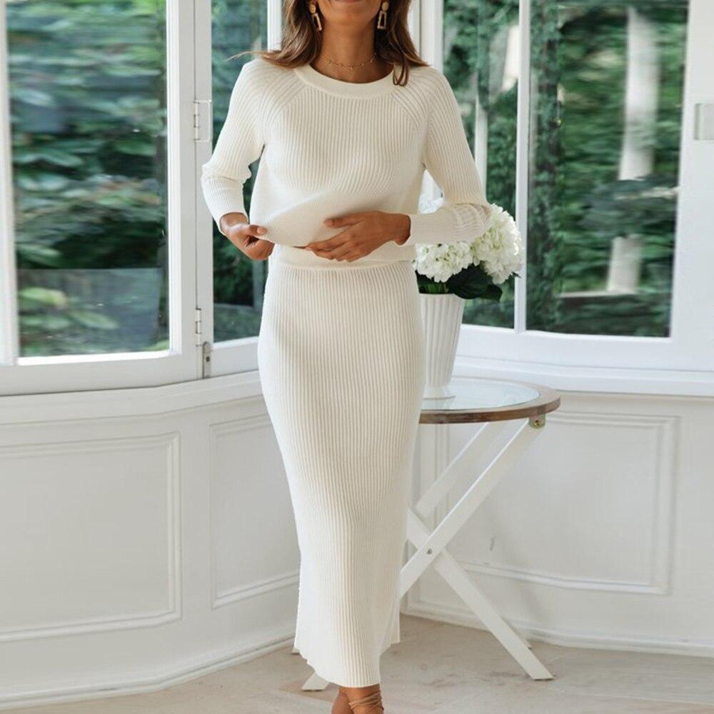 Conjunto de 2 piezas de punto para mujer, traje de punto para mujer, blusas sueltas + Falda de tubo ajustada dividida, conjuntos de dos piezas, trajes de suéter para mujer