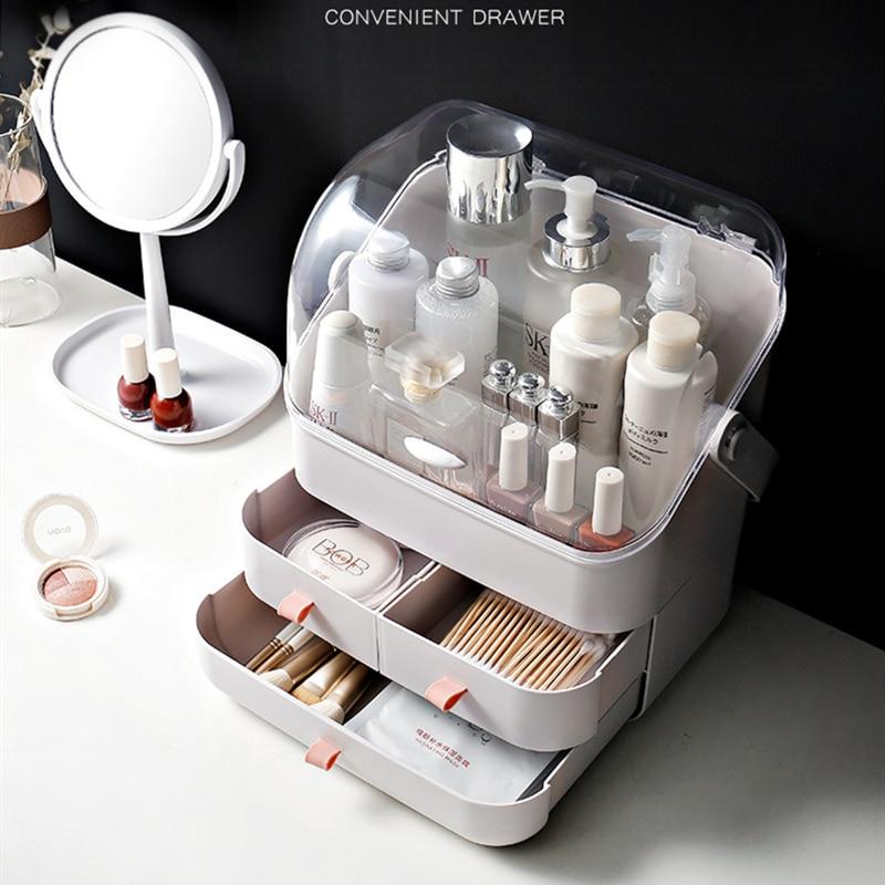 صندوق تخزين مستحضرات التجميل للحمام ، منظم مكياج عصري ، سعة كبيرة ، مقاوم للماء والغبار ، درج تخزين للتجميل على سطح المكتب