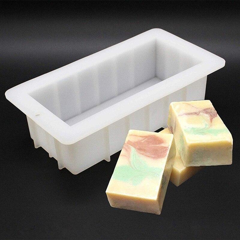 Moule à savon rectangulaire en Silicone   Moule à pain de 10 ', fournitures flexibles de bricolage pour la fabrication de savon