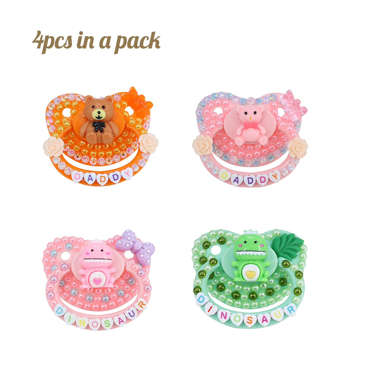 4PCS-New 2021 DDLG Adult Baby Size Pacifier 100% Handmake Silicone BPA Free abdl Adult Size Pacifier Diaper Lover Dummy Dom