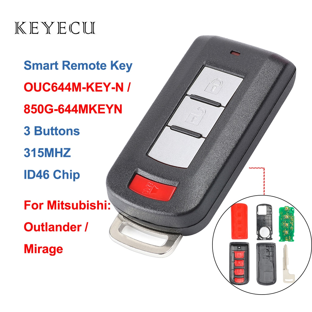 Keyecu 4 Botão do Controle Remoto Chave Do Carro para Mitsubishi Mirage Outlander Lancer 2008 2009 2010 2011 2012 2013 2014 2015 2016 OUC644M-KEY-N