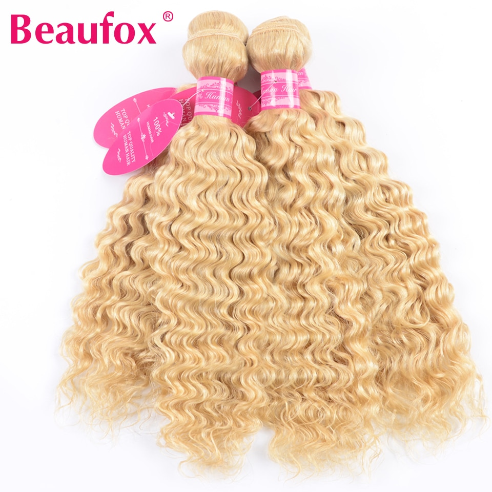 Beaufox 1/3/4 613 בלונד חבילות עמוק גל ברזילאי שיער Weave חבילות 100% רמי שיער טבעי 613 תוספות