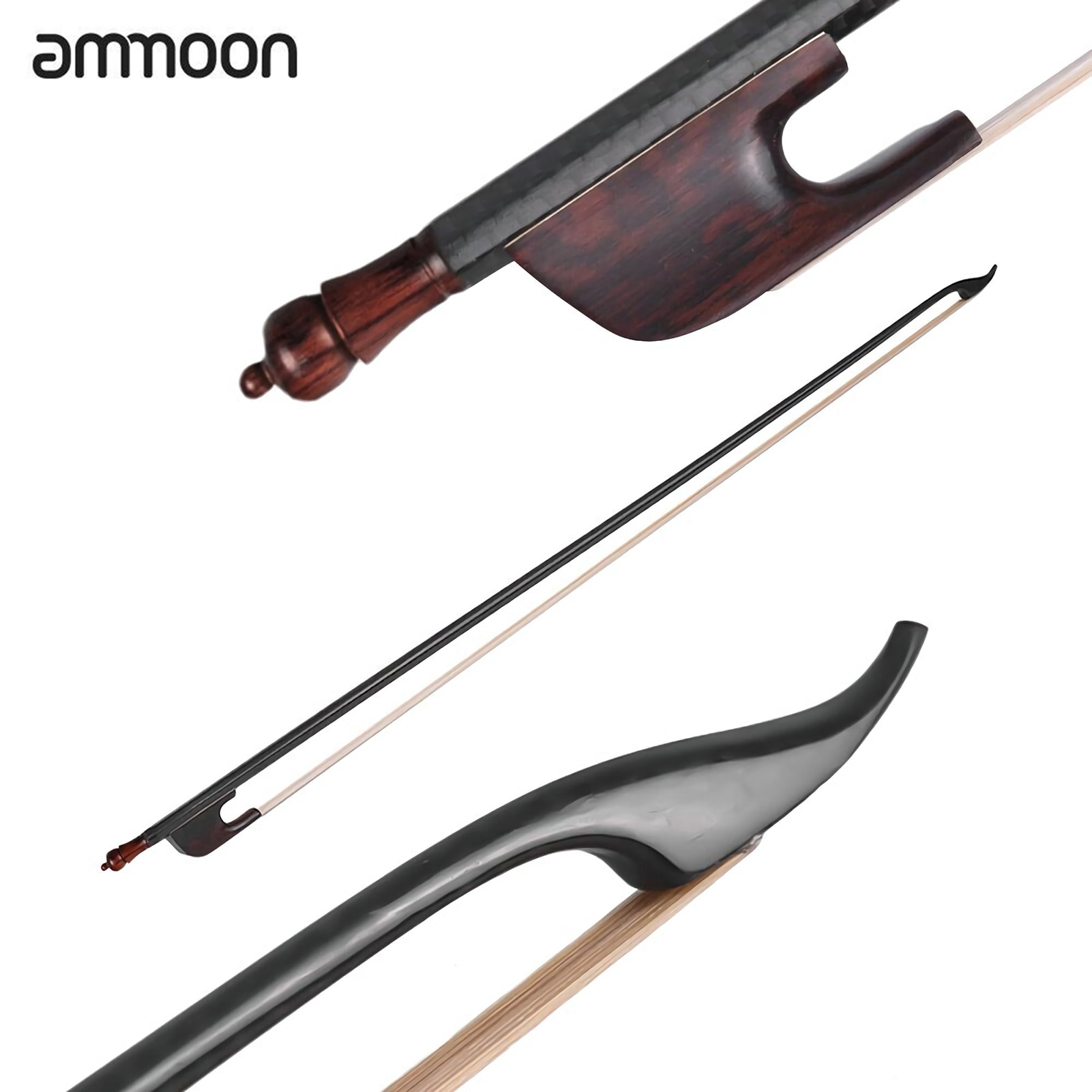 ammoon Violin Bow Baroque Style 4/4 Violin Fiddle Bow Carbon Fiber Round Stick Snakewood End White Horsehair Well Balanced